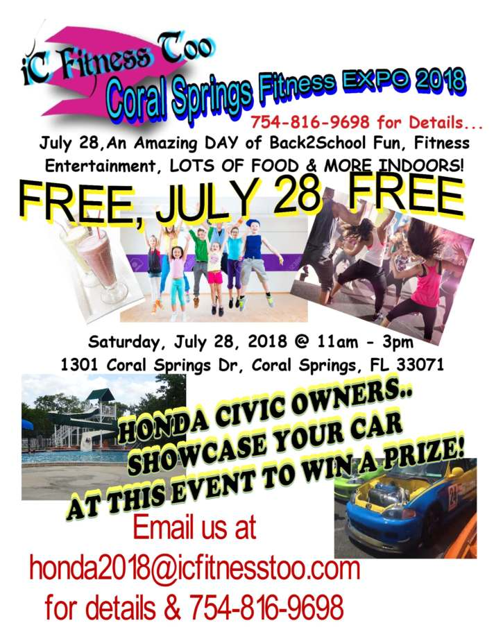 Update Coral Springs Expo July 2018